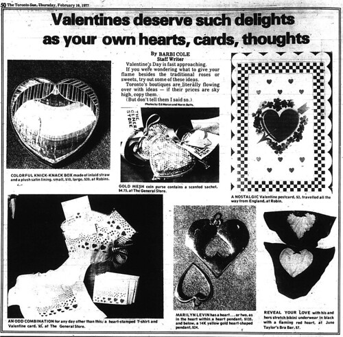 sun 1977-02-10 valentine ideas