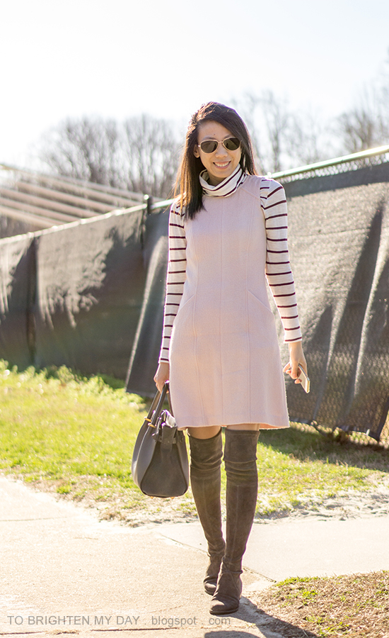 striped turtleneck, pink wool shift dress, gray suede over the knee boots, gray tote