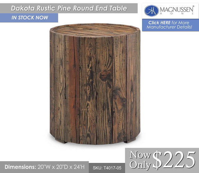 Dakota Rustic Pine Round End Table T4017-05