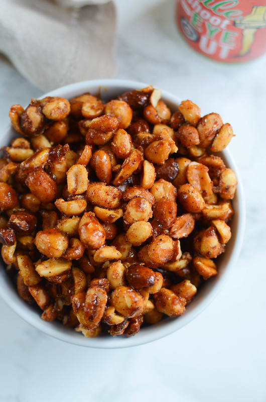 Slow Cooker Sweet and Spicy Peanuts - the perfect party snack!
