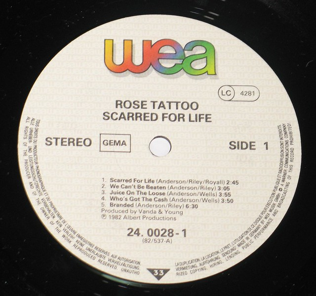 "Rose Tattoo Scarred for Life 12"" vinyl LP"