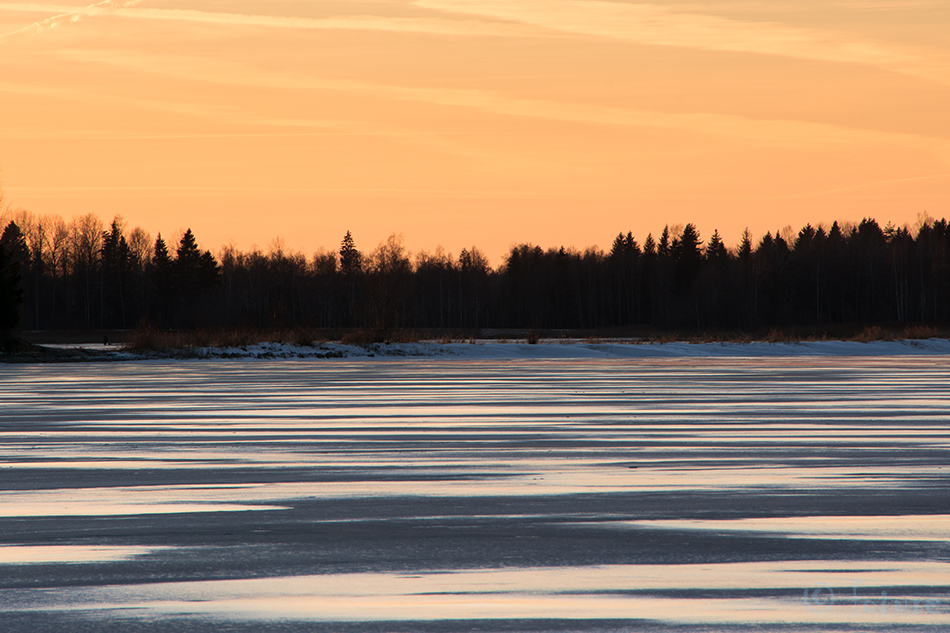Winter, sunset, moment, Estonia, lake, Kaido Rummel