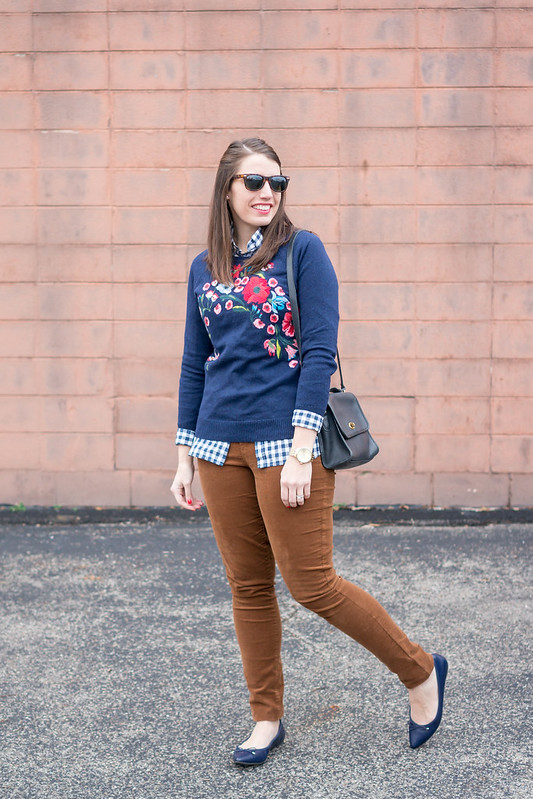 navy Loft floral sweater + tan Old Navy cords + J.Crew navy gingham shirt + navy ballet flats; winter spring outfit | Style On Target blog