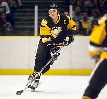 419391596 Third String Goalie  1988-89 Pittsburgh Penguins Mario Lemieux and Detroit  Red Wings Steve Yzerman Jerseys