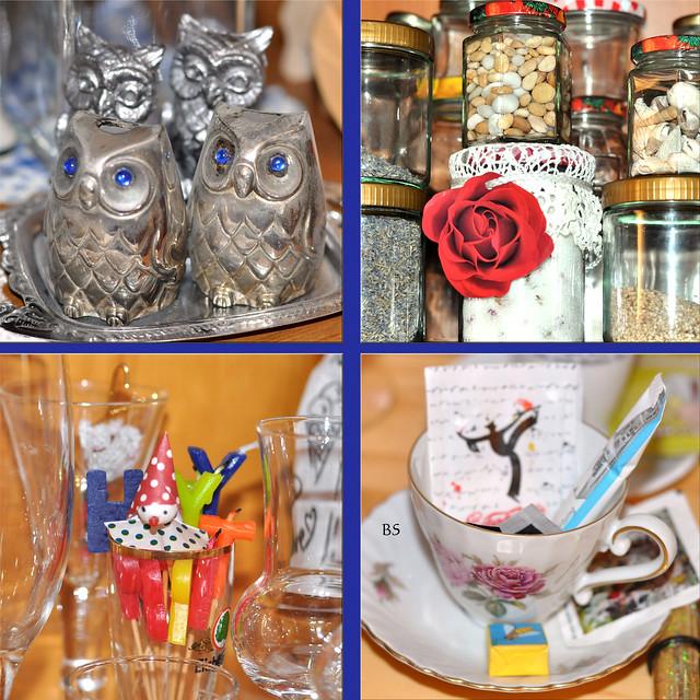 Vitrinen-Funde: Eulen, Muscheln und Schnecken, Rosenzucker, Clown, Espressotasse ... Fotos: Brigitte Stolle, Mannheim