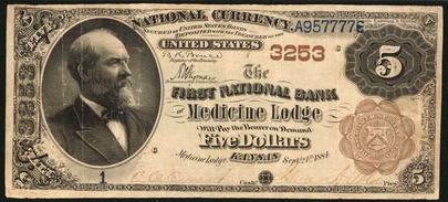 1882 National Currency $5 Medicine Lodge, Kansas