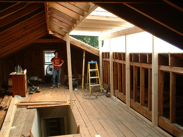 Inside view of dormer buildout jay pollard flickr for Loft addition cost