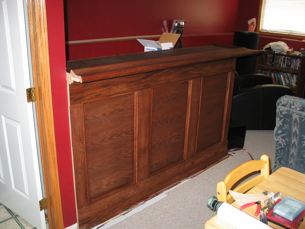 Stained Front of Bar | Top Railing installed and mahogany st ...
