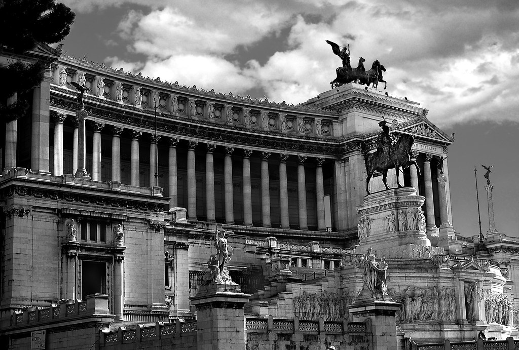 Vittorio emanuele iis monument rome black and white by james rye