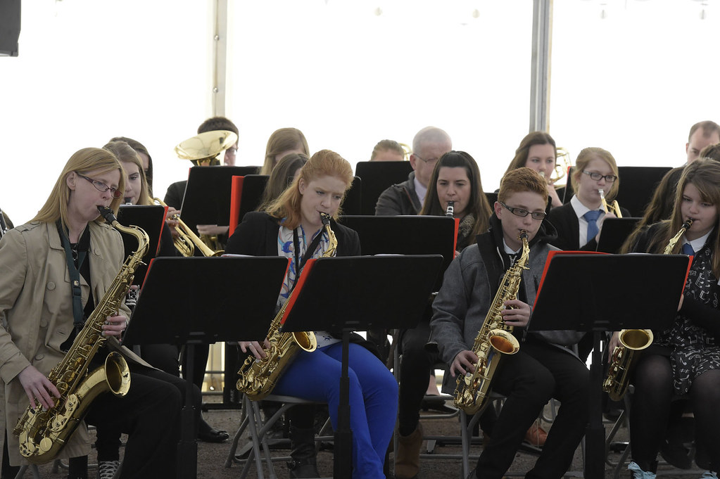 Newbattle high school jazz band at mining museum reception for Interno 1 jazz council