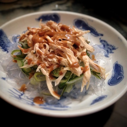 Bang Bang, chicken, Chilled, chinese, mung bean sheets, recipe, salad, sesame, shredded chicken, sichuan pepper, 棒棒, 雞絲