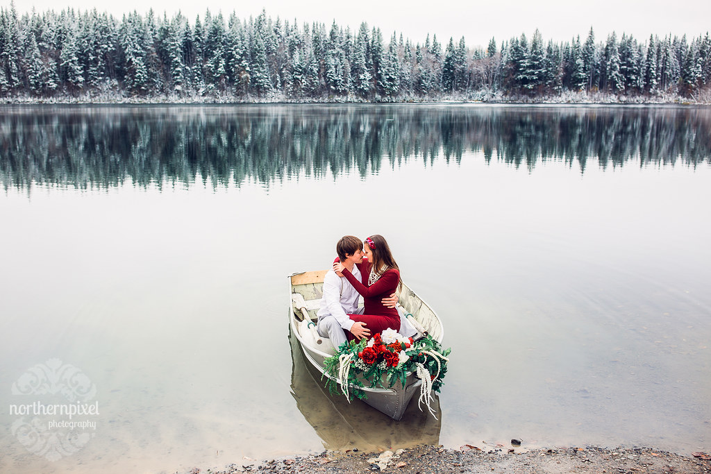 Winter Rowboat Engagement Session, Prince George BC