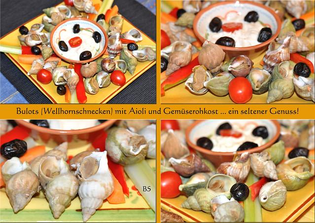 Meeresfrüchte ... Bulots, Meeresschnecken, Wellhornschnecken ... Aioli (Knoblauchmayonnaise), Gemüserohkost, Gemüsesticks ... Crémant d'Alsace ... Fotos und Collagen: Brigitte Stolle, Mannheim / Dezember 2016