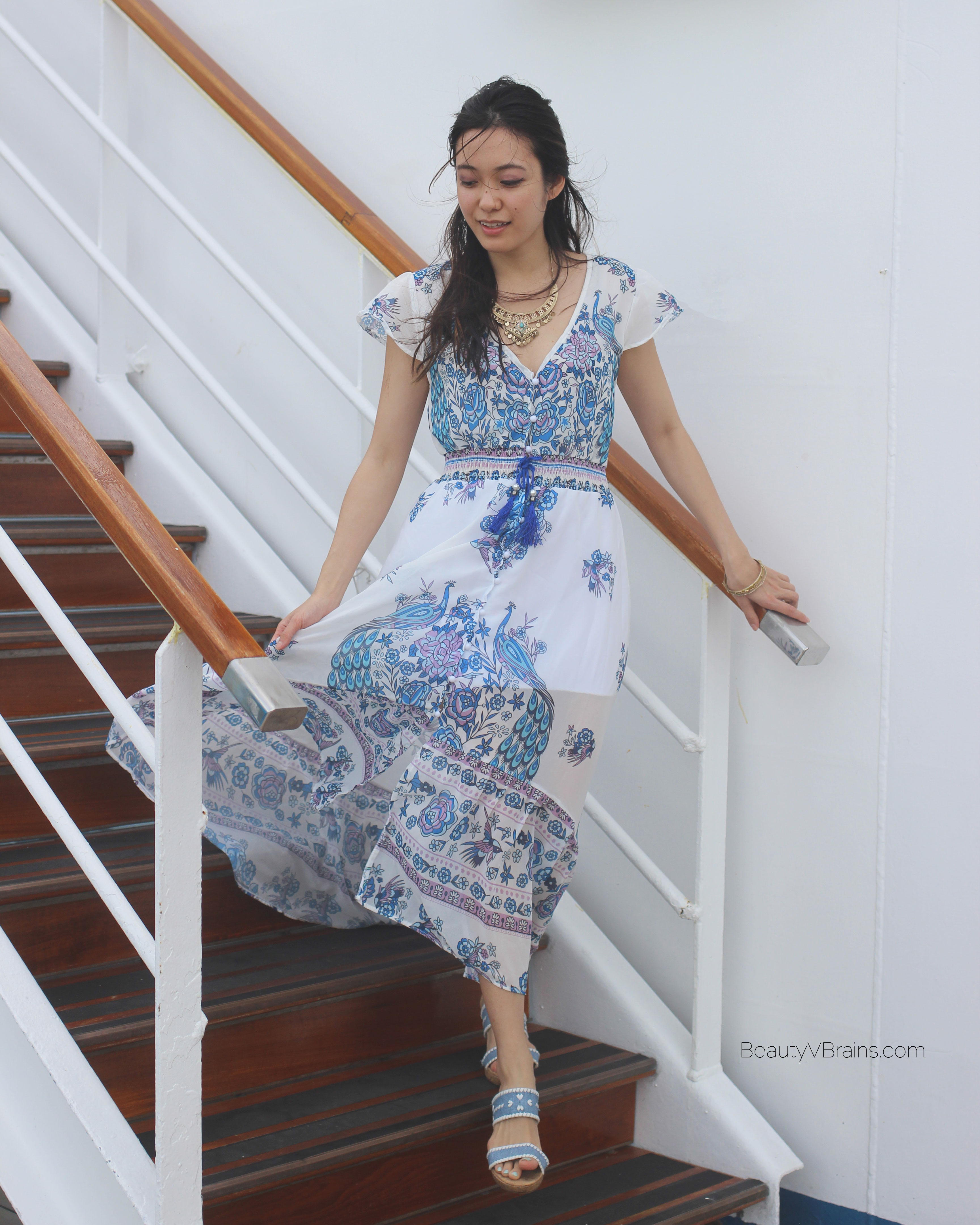 White blue print button up maxi dress