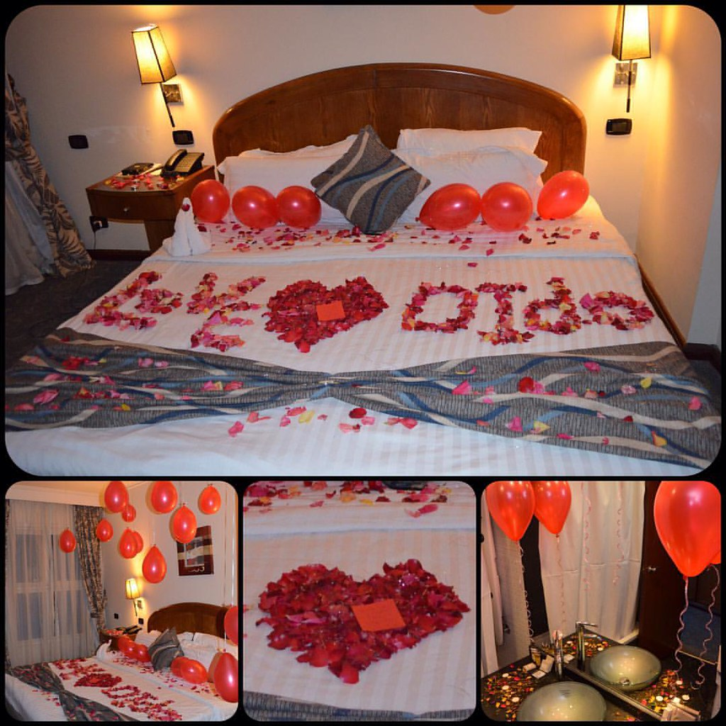 Room decoration honeymoon room decoration red flo for Bed decoration with flowers and balloons