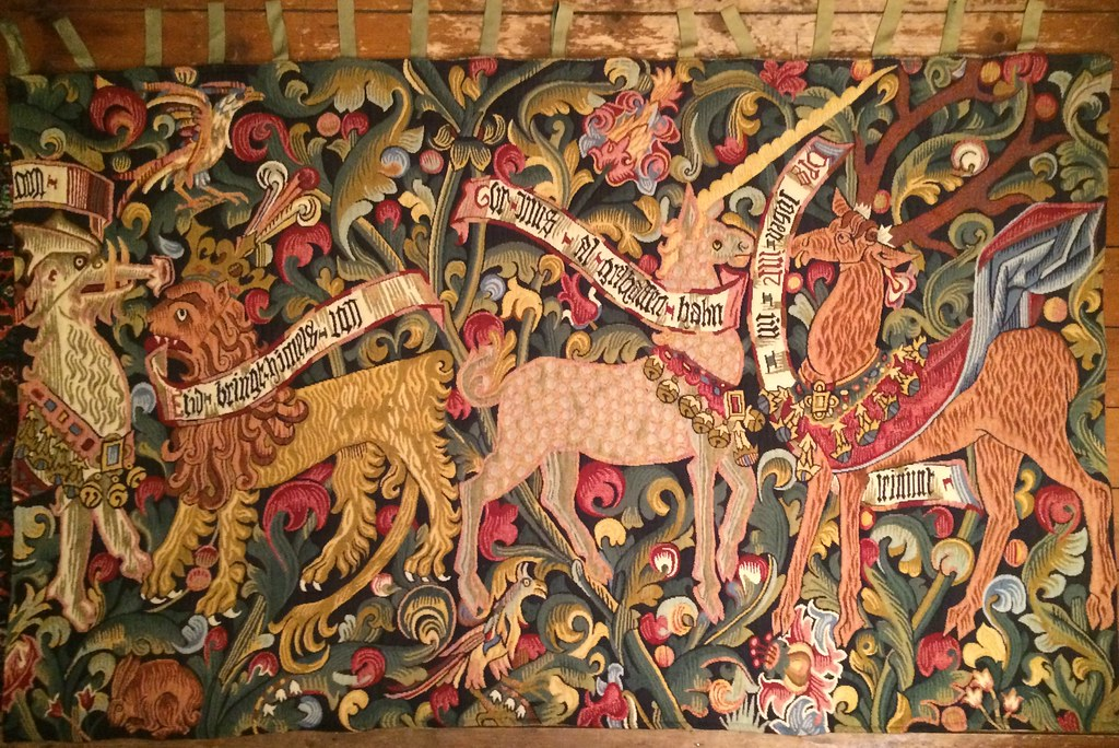 Reproduction Of Medieval Verdure Tapestry Featuring Dragon