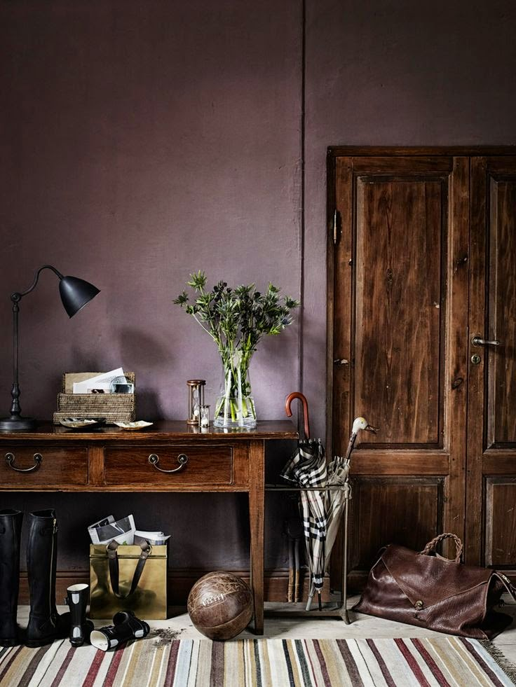 Dark Gray Wall Paint Dark Wood Desk and Door | Shadow - Benjamin Moore's 2017 Color of the Year