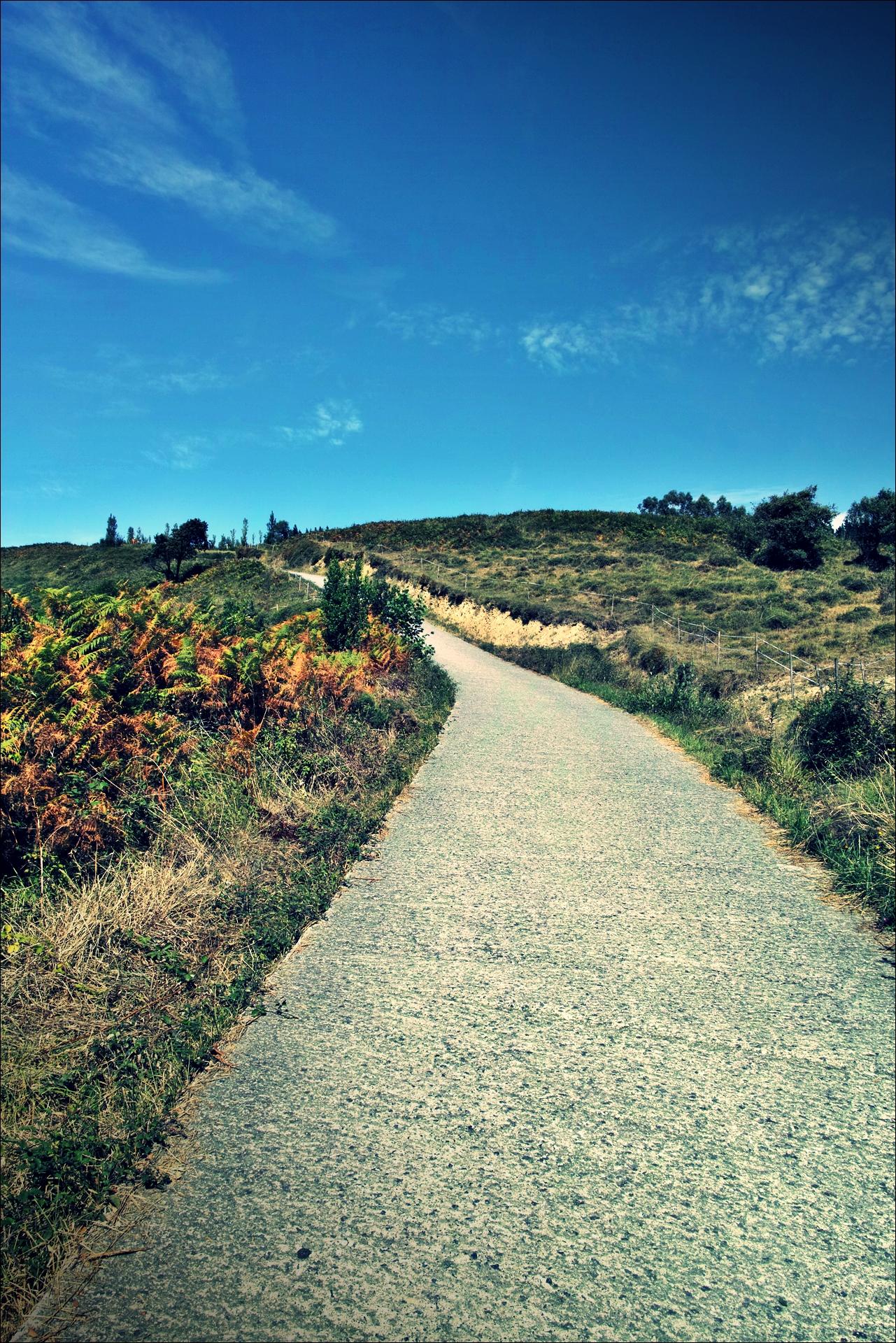 가파른 길-'카미노 데 산티아고 북쪽길. 사라우츠에서 쑤마이아. 빌바오.'