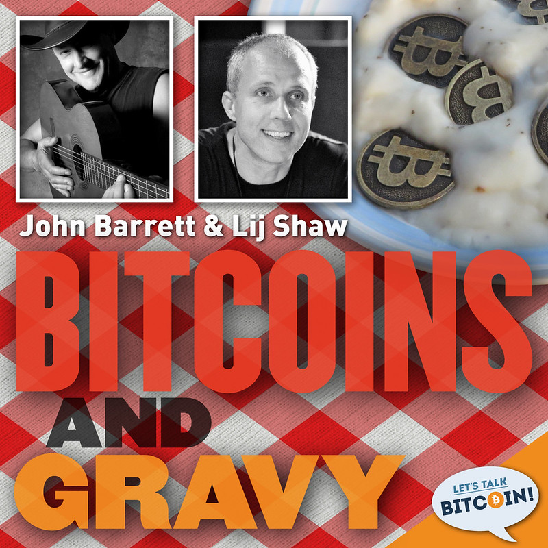The rejected cover art Rob designed for the Bitcoins And Gravy podcast, back in January 2014