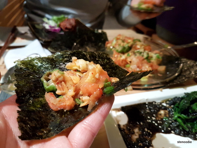 Salmon Natto Yukke on nori