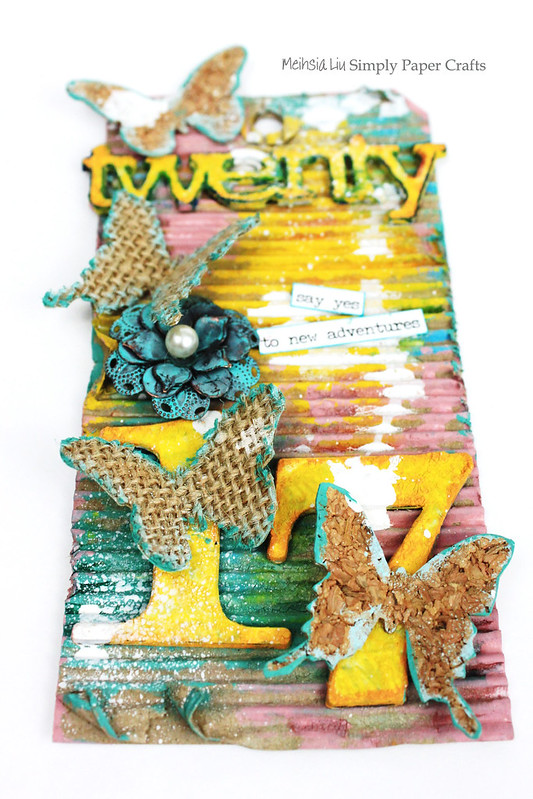 Meihsia Liu Simply Paper Crafts Mixed Media Tag Spread Butterfly Wings Simon Says Stamp Monday Challenge Tim Holtz 1