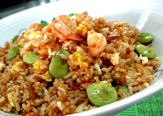 Belacan fried rice with prawns and petai