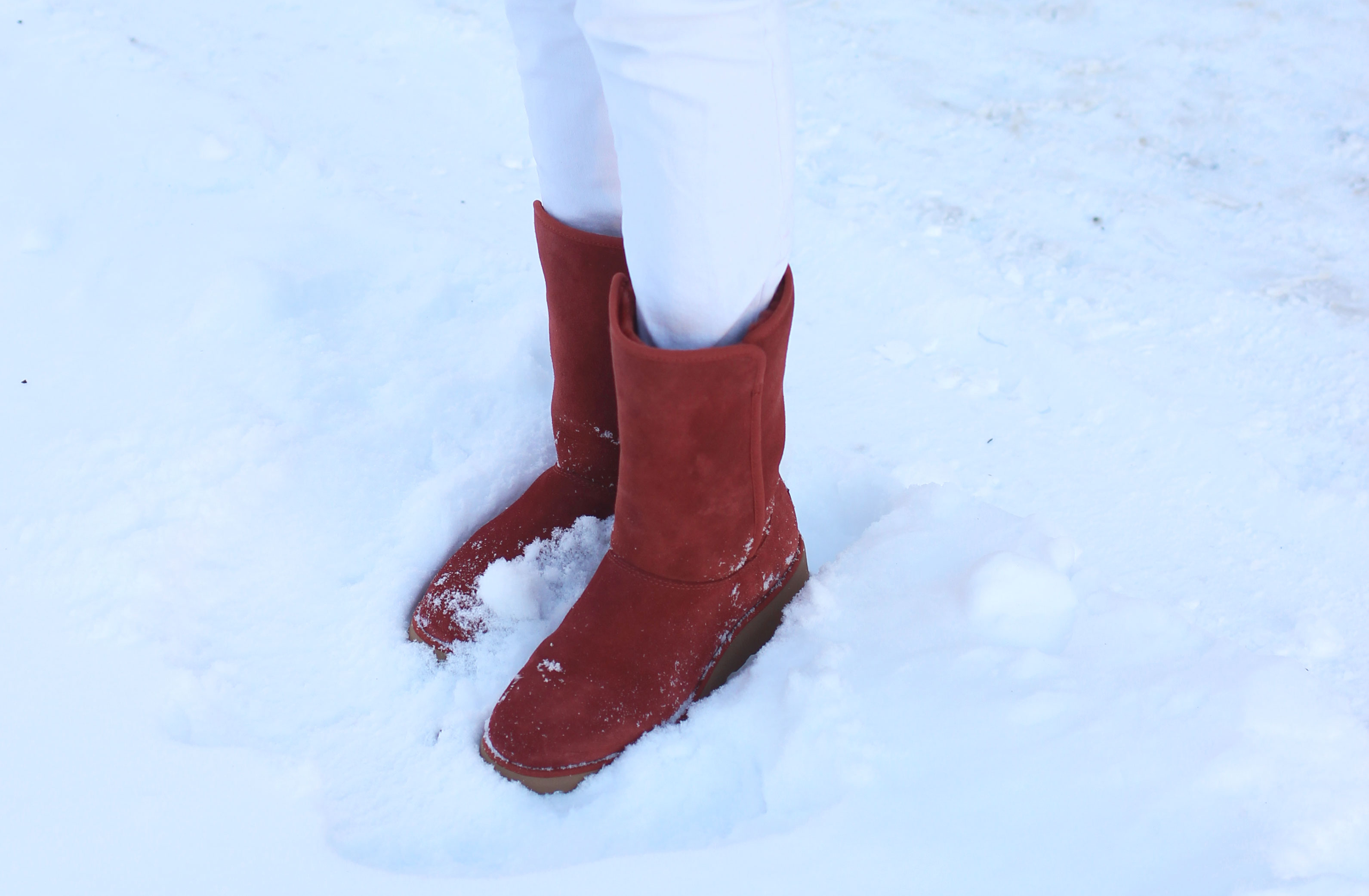 Red suede Ugg Amie boots