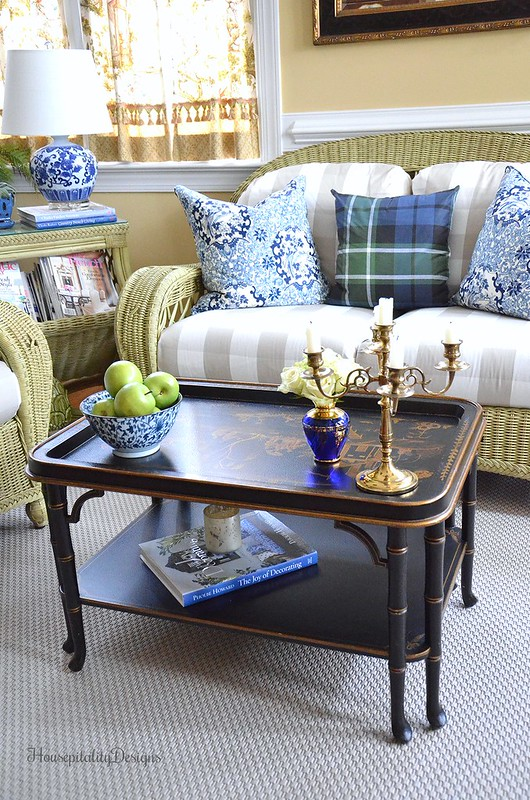 Chinoiserie Table-Blue and White-Sunroom-Housepitality Designs