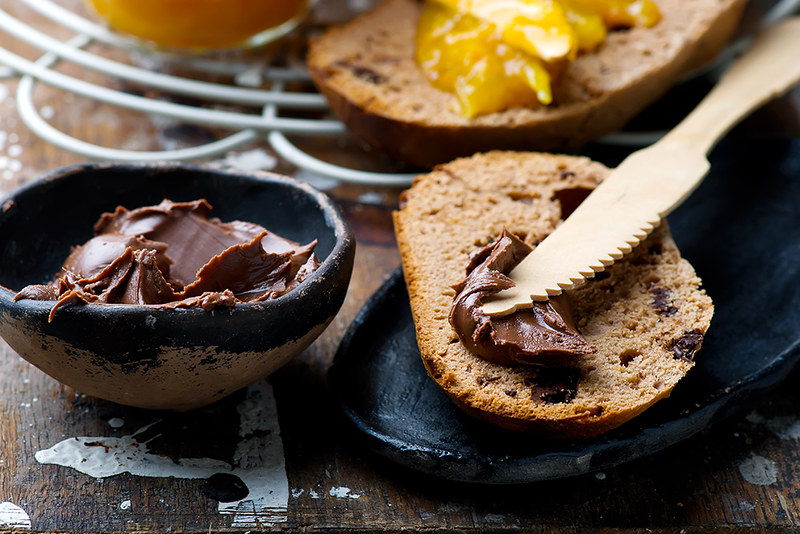 chocolate brioche with orange jam.selective focus