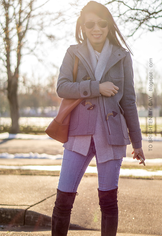 gray duffle coat with toggles, gray open cardigan sweater, lace top, lightwash skinny jeans, cognac brown tote, gray suede over the knee boots
