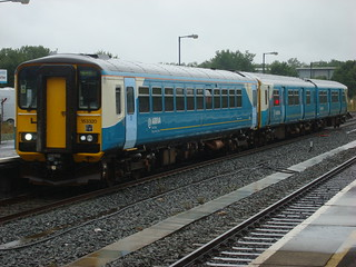 Arriva Trains Wales class 150 and class 153 in multiple at Carmarthen