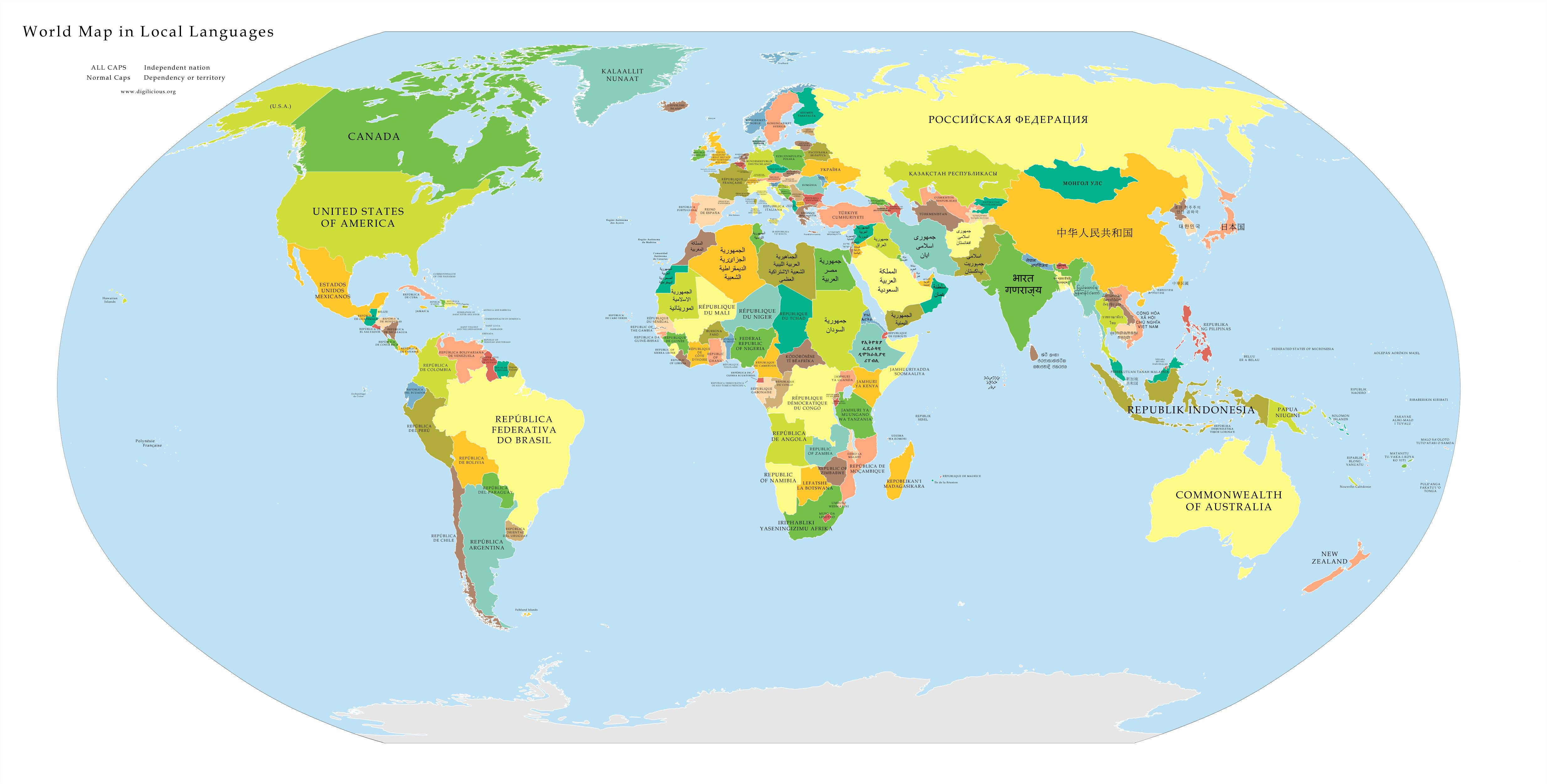 High Resolution Political Map Of The World With Countries Labeled In Their Native Language Vivid Maps