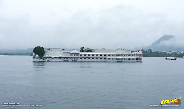A view of Jag Mahal Palace, now the Taj Lake Palace, amidst the Pichola Lake in Udaipur, Rajasthan, India