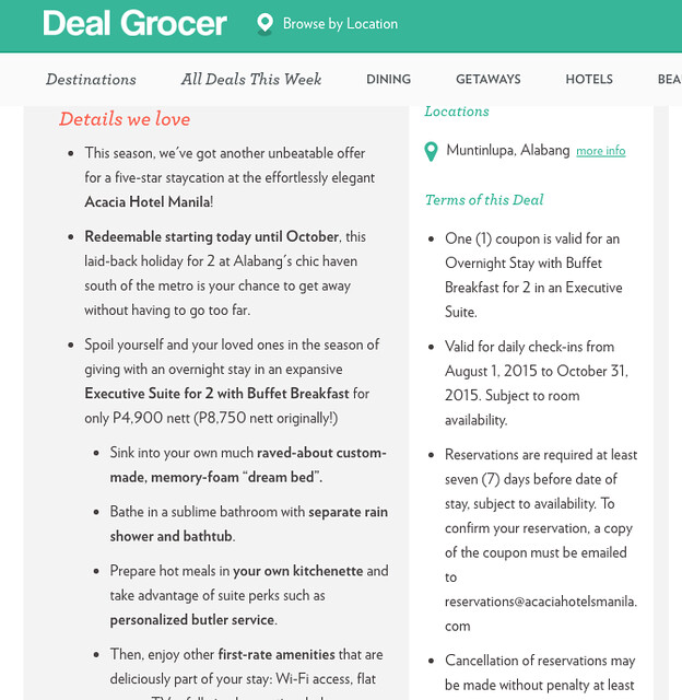 DEAL GROCER ACACIA HOTEL