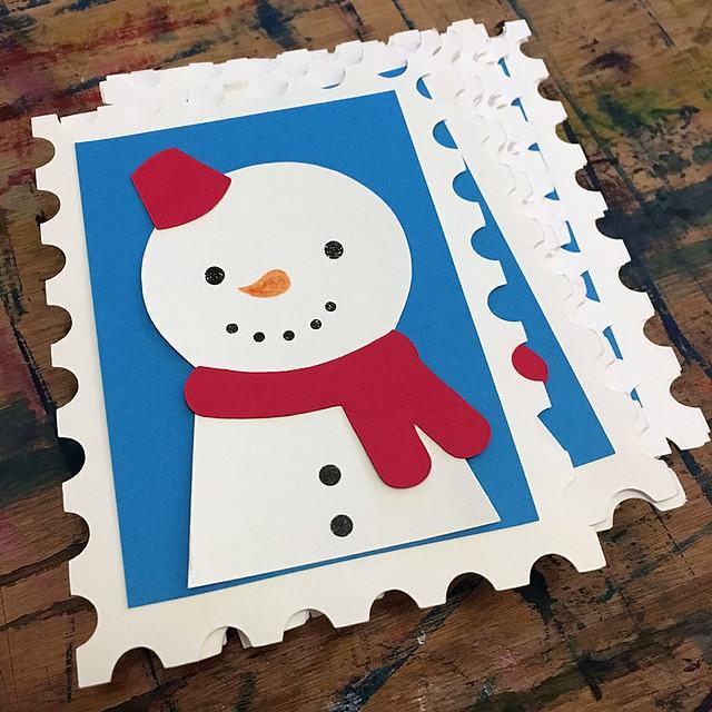 Paper-cut Snowman Christmas Card