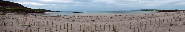 A panorama of Maghery Beach in Ireland