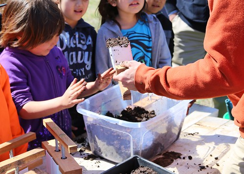 Students working with plants at Red Cloud Indian School in Pine Ridge, South Dakota