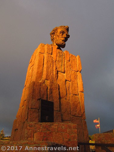 The Lincoln Bust upon its pedestal at the I-80 High Point / Summit Rest Area between Cheyenne and Laramie, Wyoming