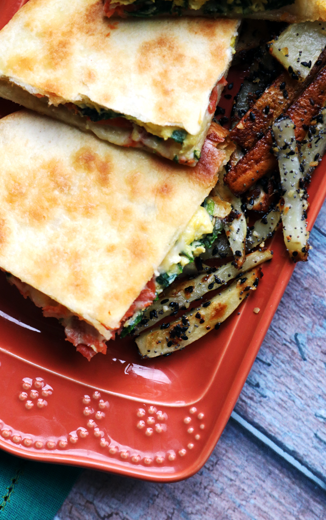 Smoked Salmon and Egg Breakfast Quesadillas with Everything Bagel Fries