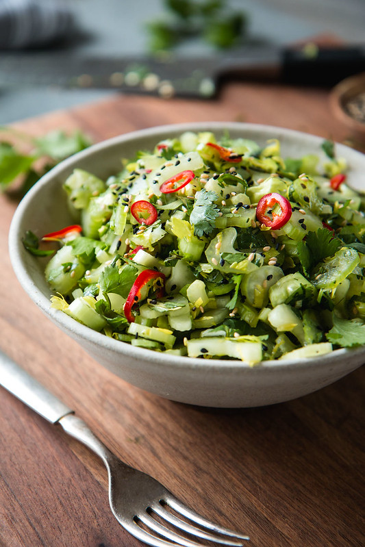 Sweet & Sour Celery Cilantro Salad | Will Cook For Friends