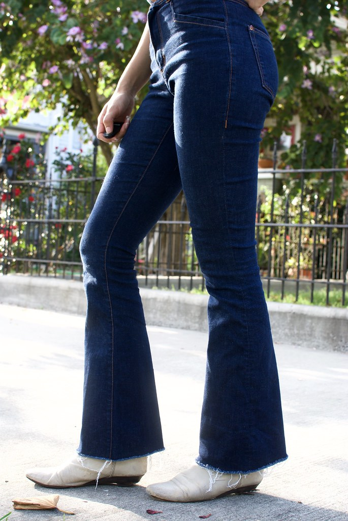 Flare jeans and Chambray shirt