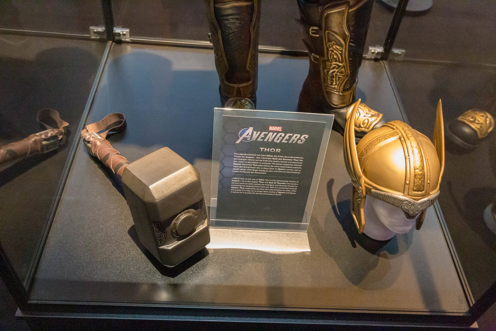 Marvel Avengers Thor costume with hammer and golden helmet, exhibited at the German games fair ...