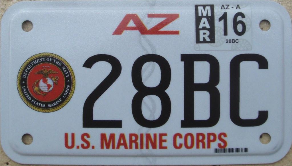 arizona us marine corps motorcycle license plate | arizona i… | flickr