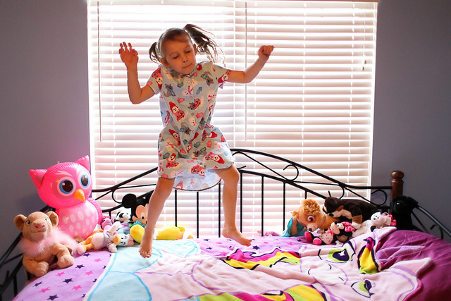 Modkid Vivian Jumping on the Bed