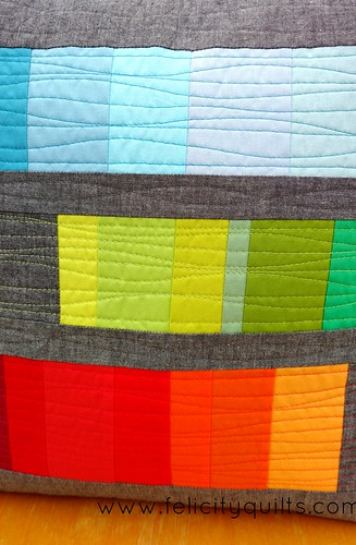 Rainbow Gradient pillow quilting detail