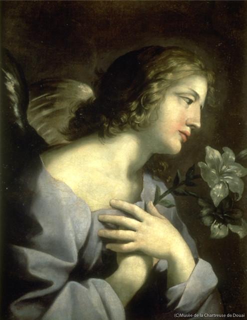 ジョヴァンニ・フランチェスコ・ロマネッリ《受胎告知の天使》(1640-50年、シャルトル会修道院美術館、ドゥエ蔵)