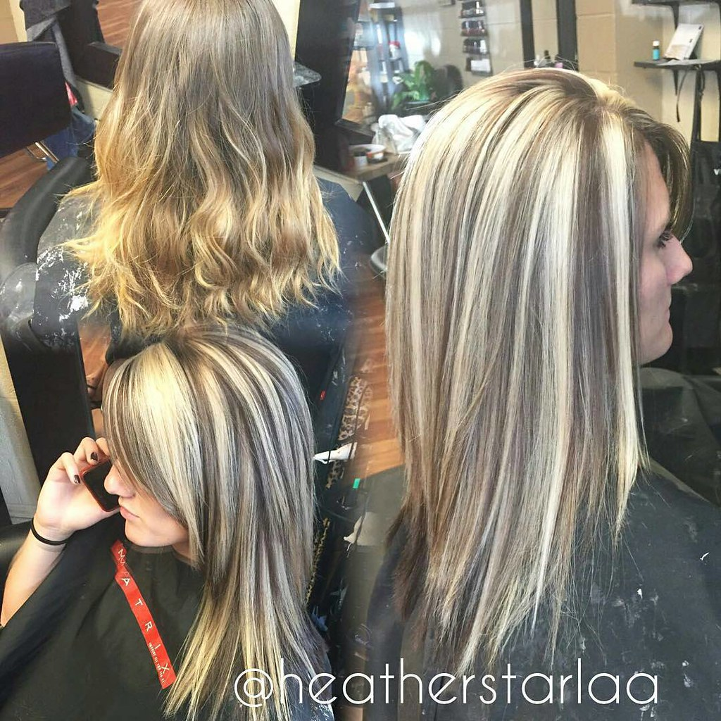 Heavy blonde highlight with a dark brown lowlight and unde ...