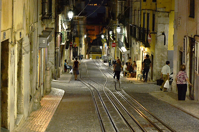Bairro Alto at night, Lisbon, Portugal