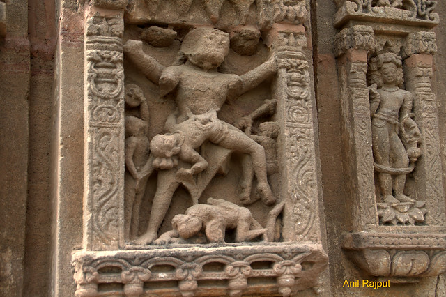 Narshimha awatar killing Hirnakashyap, Bhakt Prahlad bowing down to Lord, Osyian Group of Temples, Osiyan , Rajasthan