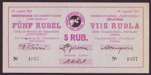 1941 Estonia Port Kunda WWII 5 Rubles note